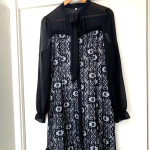 ROSETIC Black long sleeve lace dress, knee length